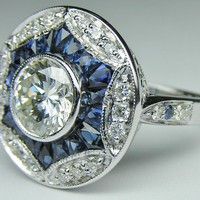 Engagement Ring - Round Diamond Art Deco Engagement ring with Blue sapphires and pave diamonds in 14K White Gold - ES827