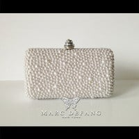 Bridal OFF WHITE mixed pearl luxury clutch bags by MDNY