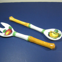 Ceramic Salad Fork Spoon Hand Painted Italy Vintage