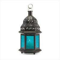 Blue Glass Moroccan Lantern: Furniture & Decor