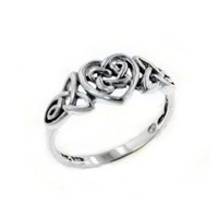 Sterling Silver Celtic Trinity Knot Heart Ring(Sizes 3,4,5,6,7,8,9,10,11,12,13,14,15): Jewelry