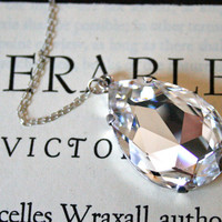 Extra Large White Diamond Crystal in Sterling Silver, Ultra Glamorous, Wedding Jewelry, New Years Jewelry, Sparkly, Vivienne Bridal Necklace