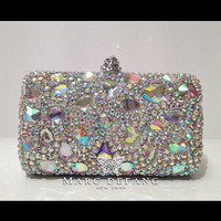 ULTIMATE LUXE bridal rainbow snow diamonds AB crystal clutch bag