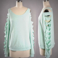 Mint Green Slash Sleeve Top Comfy Sweat Shirt Aqua Pretty Open Cut Sides