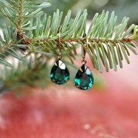 Emerald Dance Earrings - $40.00: From ourchoix.com, these emerald Swarovski crystal earrings are surrounded in antique brass.
