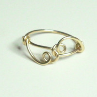 Heart Gold Wire Wrapped Ring