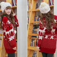 Women Merry Xmas Snow Deer Long Sleeve Hip length Knitwear Sweater Jumpers 4201