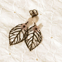 Pink and Bronze Leaf Nature Earrings, Flower Earrings