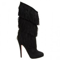 High-fringed boots $229,christianlouboutin,namely red bottom shoes,discount louboutins