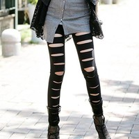 Punk Style Cotton Leggings with Cut Out Detail