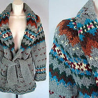 Vtg 80s SOUTHWESTERN Wool SHAWL COLLAR INDIAN Wrap Cardigan SWEATER Jacket