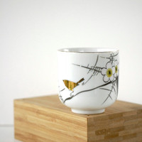 Vintage Teacup Japanese Plum Blossom Golden Bird YY Made in Japan