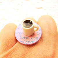 Coffee Ring Miniature Food Jewelry  Coffee Lover