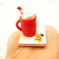 Food  Ring Hot Chocolate Reindeer Cookie Christmas Miniature Food Jewelry
