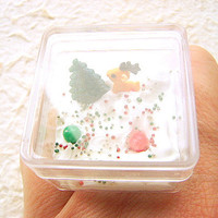 Christmas Ring  Miniature Food Jewelry Reindeer Tree