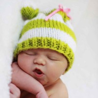 Knit Striped Baby Bear Hat Photo Prop by OopsIKnitItAgain on Etsy