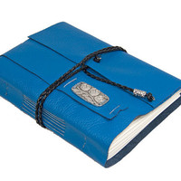 Blue Leather Journal with Bookmark