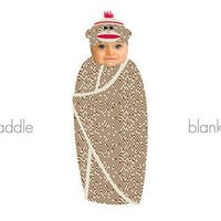 The Spoon Sisters Sock Monkey Attire - Swaddle Blanket Set, Bunting Set or Hooded Towel