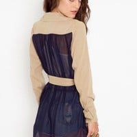 Chiffon Back Trench - Khaki - NASTY GAL
