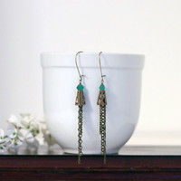 Teal and Antiqued Brass chain earrings