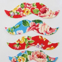 Love What's Missing | Floral Mustache Iron on Applique- 4 pack  | Online Store Powered by Storenvy