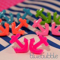 FUNKY ANCHOR EARRINGS CUTE RETRO SAILOR PIN UP NAUTICAL KITSCH POP COLOURS EMO