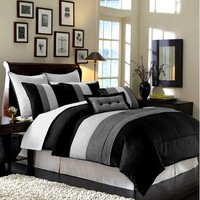 8 Pieces Black White Grey Luxury Stripe Comforter (86&quot;x88&quot;) Bed-in-a-bag Set Full or Double Size Bedding