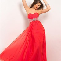 Chiffon Sweetheart Beaded Waist Low Back Long Prom Dress PD2149