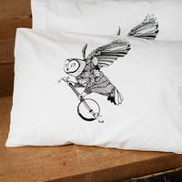 Ghost Banjo Hand Screened Pillow Case Pair by barkdecor on Etsy