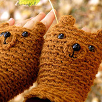 FINGERLESS GLOVES BEAR original design forest autumn by Pomber