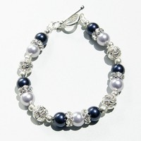Swarovski Lavender and Night Blue Bracelet, Bridesmaid Gift - by craftimade on madeit