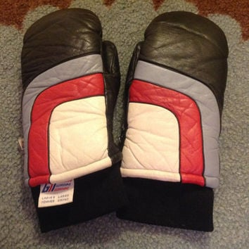Vintage GORDINI 1960's 70's MOD Striped ReTrO Leather Womens SKi Gloves Mittens
