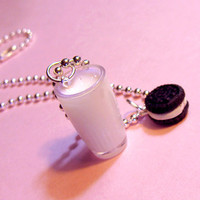 Milk and Cookies Necklace Oreo Cookie Necklace by kawaiidesune