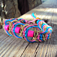 Neon Pink Bracelet Hemp Fishbone Knot Eco-Friendly Jewelry