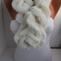 NEW- White  Ruffle Plush Fabric Velvety Cozy  Scarf