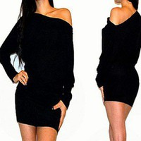 SEXY BLACK OFF SHOULDER KIMONO SLEEVE COCKTAIL SWEATER DRESS XL