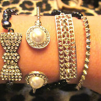 Black Silver Rhinestone Pearl Bow Spikes Arm Cuff Candy Bracelets Set (4) New