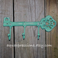 Cast Iron Hook / Jade Metal Key Hook /Wall Hanger/ White Skeleton Key Rack/ Fun Elegant Wall Decor/ Cottage Shabby Chic/ Painted Distressed