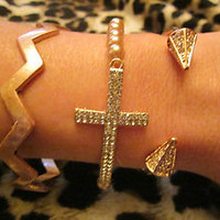 Rose Gold Chevron Side Cross Arrow Rhinestone Arm Candy Bracelets Set (3) New