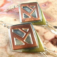 Copper, Brass, and Sterling Silver Dangle Earrings