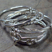 Stacked Rings Argentium Silver - Mix and Match - Pick Your Own Set - Save Money The More Your Buy