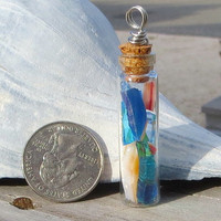 Glass Bottle Necklace Cork Apothecary Vial Shattered Glass