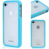 Amazon.com: i-Blason Apple iPhone 4 4S 16GB 32GB TPU Transparent Gel Silicone Skin Case Cover + Free Screen Protector (Many Colors Available) (Blue): Cell Phones & Accessories