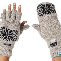 Happy Fashionable Deals! - Alki'i 3M Thinsulate Thermal Insulation Fingerless Texting Gloves with Mitten Cover - Cream