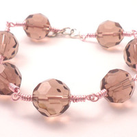 Rainbow Faceted Amethyst Bead Bracelet with Soft Pink Wire