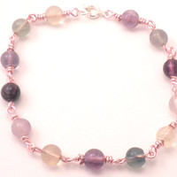 Purple and Green Fluorite Gem Chain Bracelet with Soft Pink Wire