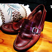 vintage mens Eastland brown leather loafer with tassel and buckle. size 10.5 D. made in Brazil