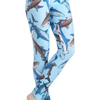Fresh Take Leggings in Sharks | Mod Retro Vintage Pants | ModCloth.com
