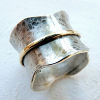 sterling silver and brass spinner ring - statement ring - sterling silver ring - unique ring - unusual ring