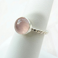 Rose Quartz Ring - sterling silver ring - made to order - gemstone jewelry